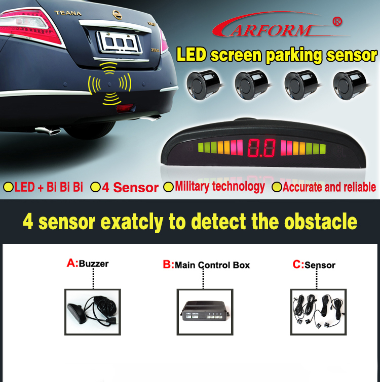 Speicial design waterproof parking sensor system 8 stage slim LED display