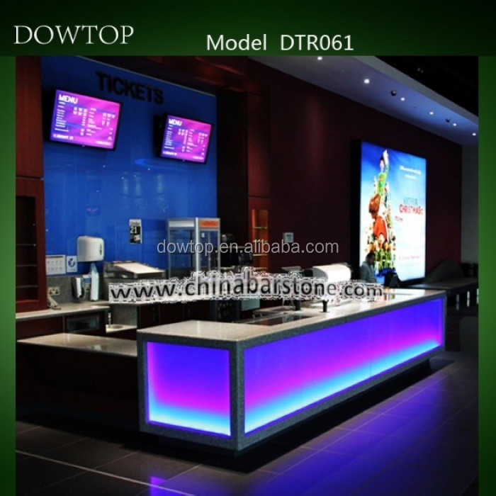 acrylic solid surface multi color changing led bar table