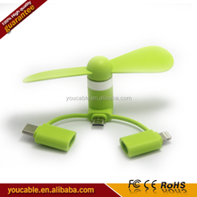 Hotsale MicroUSB Type C and 8 Pins 3 in 1 Mini USB Phone Fan