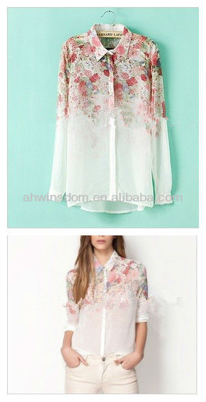 EUROPEAN STYLE 2013 APRING AND SUMMER NEW LONG-SLEEVED CHIFFON SHIRT D90516S