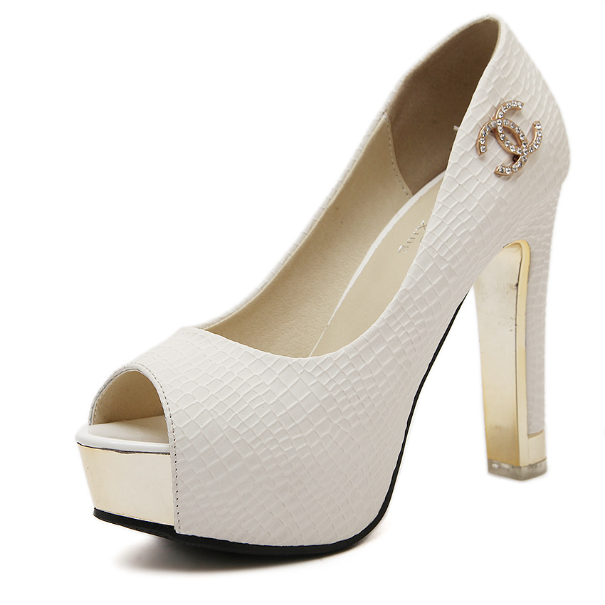 ladies thick high heel strap slingback peep toe shoes