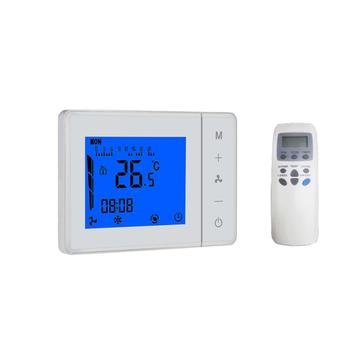 Remote control room thermostat for central air conditioner