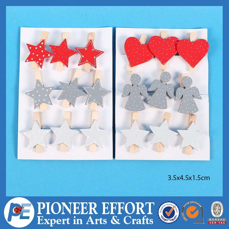 Wooden widely useful angel, star and heart shaped clips for christmas decoration