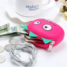 Colorful fashion cute funy cartoon bulk wholesale silicone zipper mini lady coin purse wallet portable