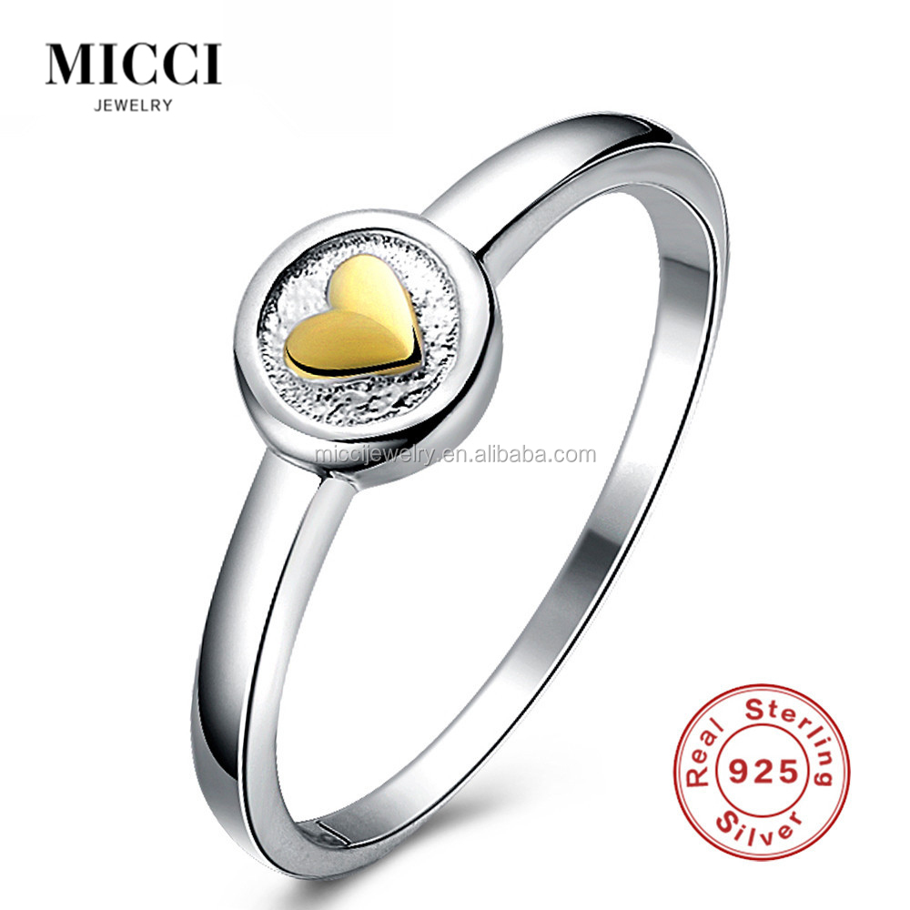 Simple design gold <strong>ring</strong> without diamond , 925 sterling silver wedding finger <strong>rings</strong> with gold heart imprint