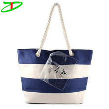 Nautical Love Navy & White Striped Tote Bag With Rope Handles, Summer Pattern Beach Bag Wholesale