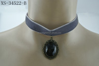 Newest design black fabric collar necklace exquisite handmade choker necklace with blue red gemstone charm