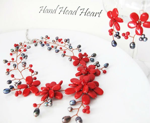 Garnet and Coral Pearls Gem stone Flower Necklace with Earrings SET HandMade PN132