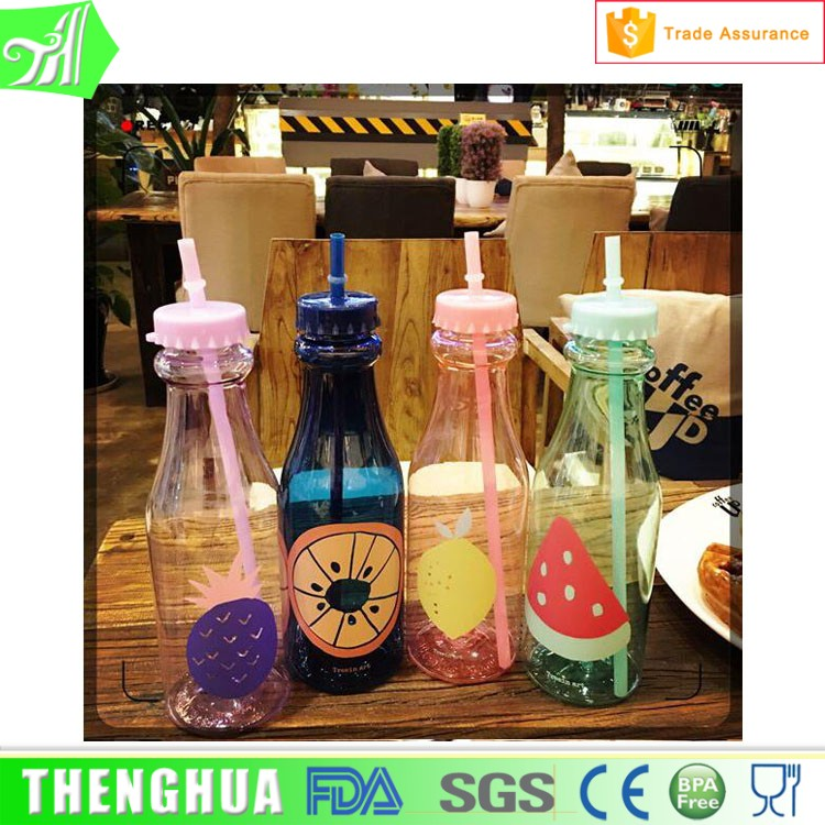 650 ml Plastic Water Bottle Milk Bottle With Straw shaker