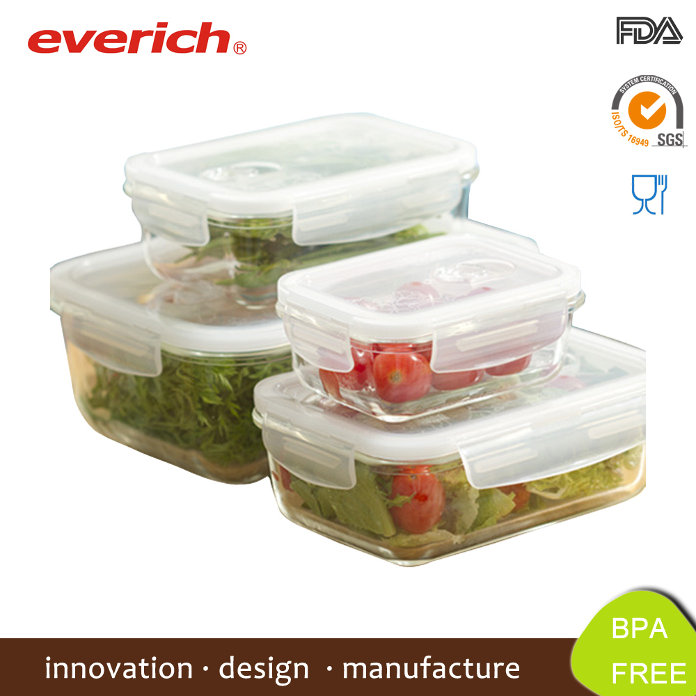 Everich Hotsale Borosilicate clear glass lunch box set