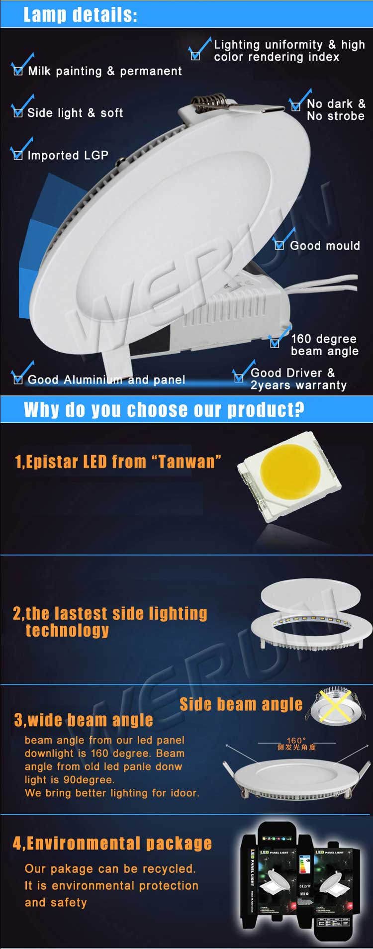 New high power led panel light Ra>80 2800lm 36W led light panel