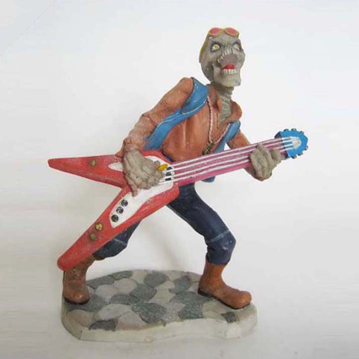 Resin skull guitar player statue for factory sale