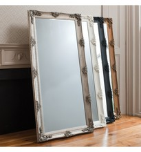 cheval carved molding rectangular wood frame leaner mirror