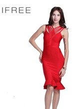 2016 Fashion Evening Red Crocheted Strap Fishtail Celebrity Style One Piece Formal Girls Party Dresses