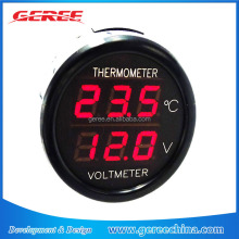 Geree Red Digital car Voltmeter 12V 24V Cigarette Lighter Voltmeter Thermometer