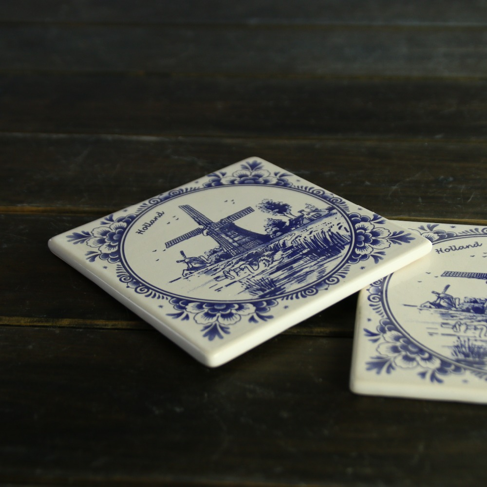 Delft ceramic blue and white coaster cup mat home decoration