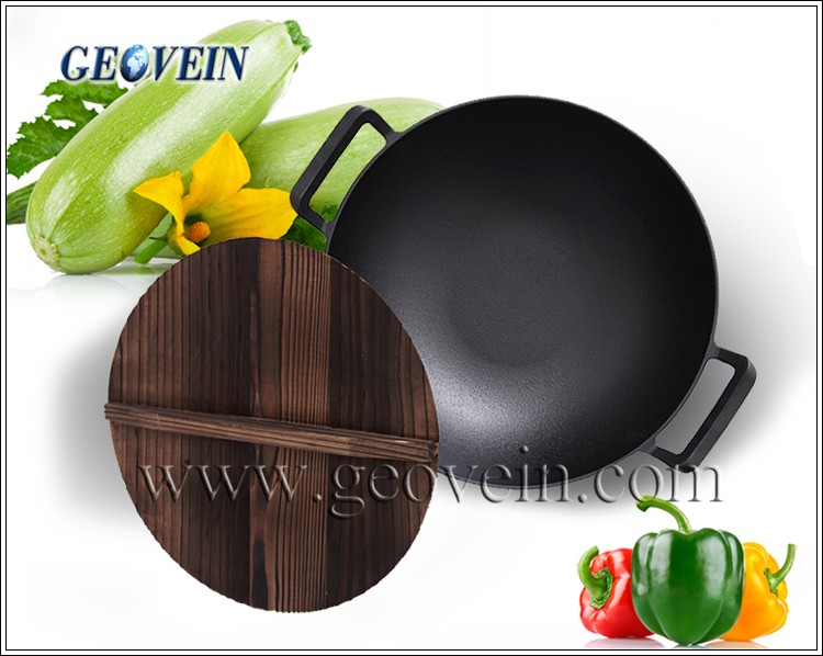 Wholesale Industrial Double Handle Chinese Cast Iron Wok