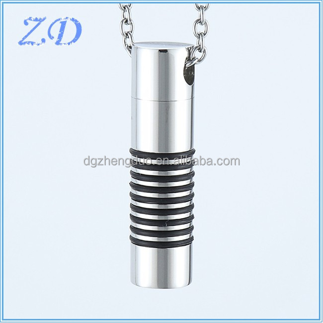 Fashion Memorial Keepsake Ashes Necklace Perfume Bottle Stainless Steel Cremation Urn Pendant