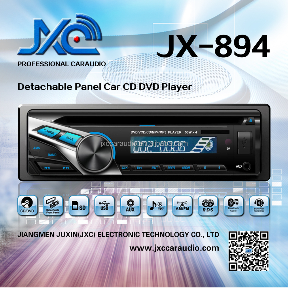 JX-894#Detachable Panel 1din Car DVD/CD/MP3/FM/AM Tuner/USB/SD/AUX IN