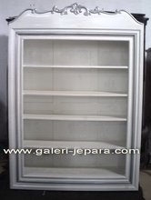 Bookcase Wall Unit - White Painted Office Furniture - Open Bookcase with Shelves Furniture Indonesia