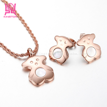 wholesale stainless steel cubs18k gold jewelry set