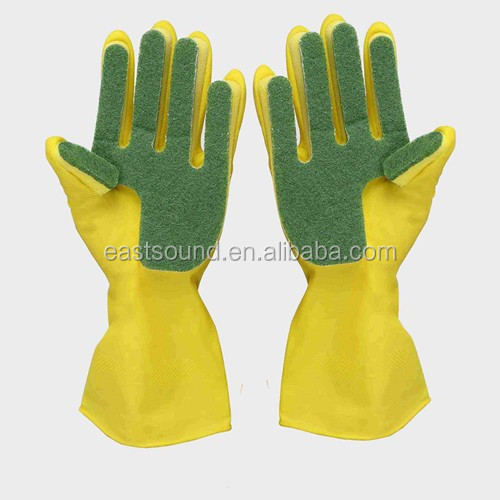 new latex gloves with scouring pad