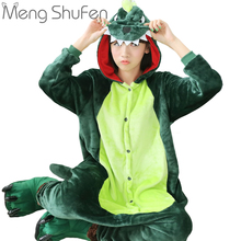 Wholesale Dinosaur Unisex Flannel Hoodie Pajamas Costume Cosplay Animal Onesie Sleepwear Men