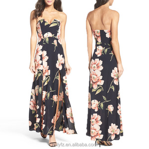 Crepe clothes sexy party wear sleeveless floral printed lady maxi evening dress 2017