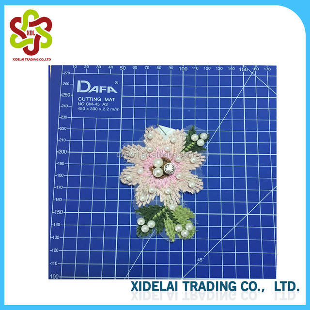 Embroidery Flower Pearl Beaded Applique Patch