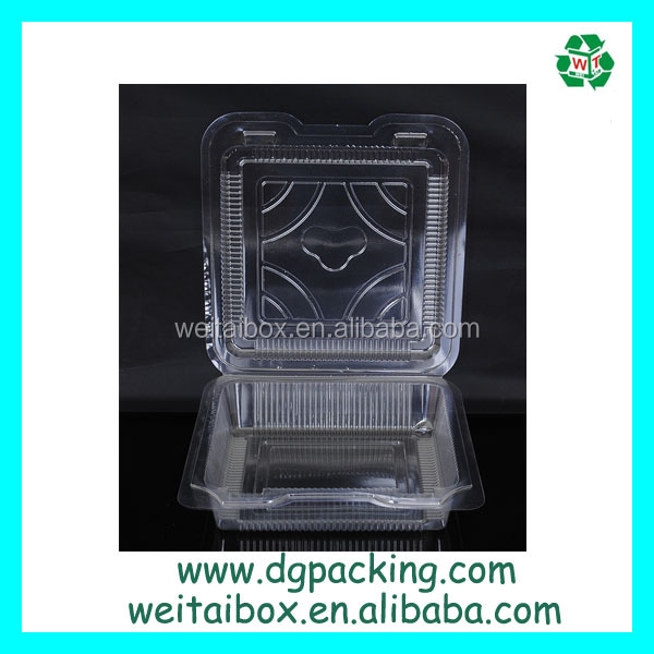 Transparent Square Blister box Disposable Plastic pizza sushi container