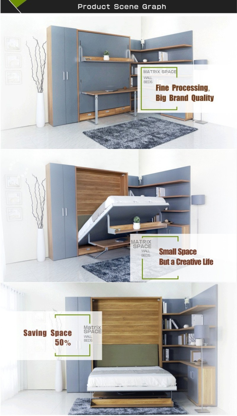 cheap space saving bedroom furniture folding wall bed