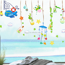 Removable custom cartoon hanging bottles fresh color beach window wall decals