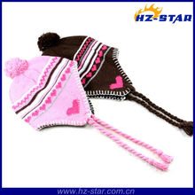 HZM-13309 2015 winter pompom heart print warmer fashion hats with ear flaps