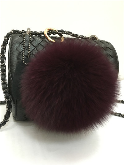 China Supplier Hot Pink Real Rex Rabbit Fur Pom Pom Wholesale Bag Charm