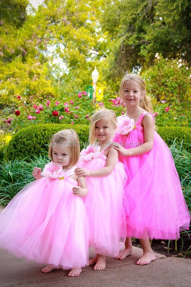Wholesale Sleeveless Pink White Ball Gown Tulle Flower Girl Baby Dress Designs