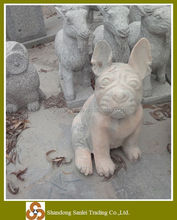 Natural stone carving pink marble statue dog pet for sale