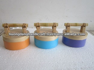 Bamboo pole and rattan original lid for Colorful Spun Bamboo Box - Nice product from Vietnam -100% handmade