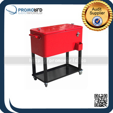 Large ice chest metal cooler box with wheels for beverage