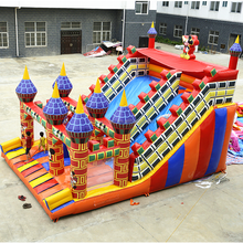 Factory price inflatable bouncy slide castle/inflatable theme park jumping bed/inflatable bouncer with slide