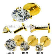 Fake Labret Piercing Plated Gold Internally Threaded Labret Stud with Prong-set CZ Gem
