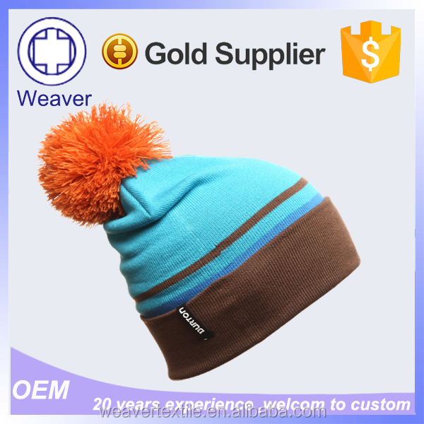 2015 Hot Selling Cute Baby Knitting Beanie Hats with Top Ball