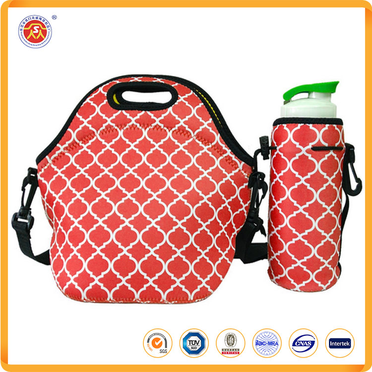 Set of Insulated Neoprene Lunch Bag and Handy Bottle Cooler - XLarge - 4mm Neoprene - Sturdy Zipper - Lightweight