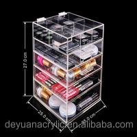 Acrylic Cosmetic Makeup Organizer Luxury Spinning Lipstick Powder Brush Holder