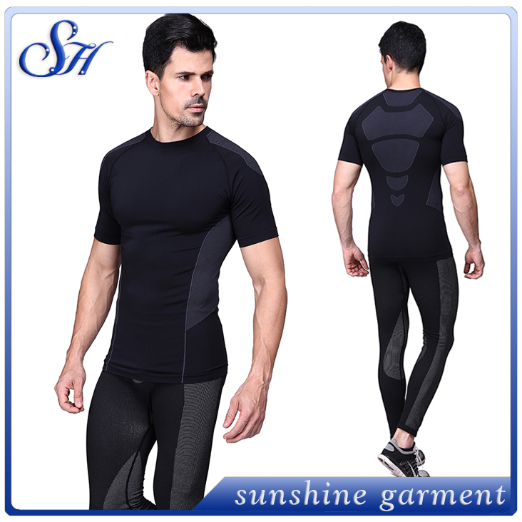 2016 new designs seamless nylon running shirt for men
