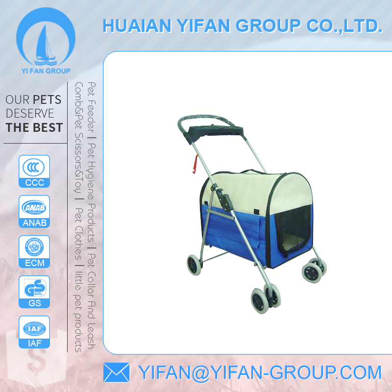 Wholesale 600D polyester fabric steel tube blue pet dog stroller