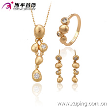 63335 Xuping vogue gold jewellery designs with price personalized pattern Synthetic CZ jewelry set