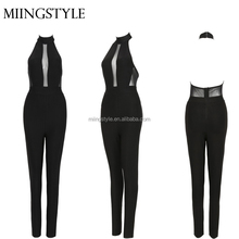 2017 oem halter black sexy lady evening bodycon bandage women jumpsuits 2016