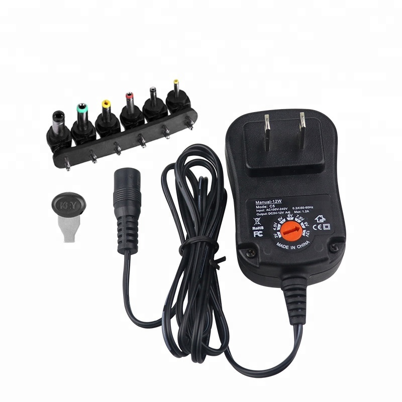 12W AC/DC Manual Charger Adjustable Voltage Power Adapter