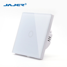 Jajer EU/UK standard smart wall switch touch switch crystal glass panel 1 gang 1 way white