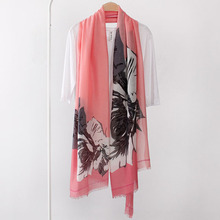 100% viscose cotton floral printed scarf with tassels